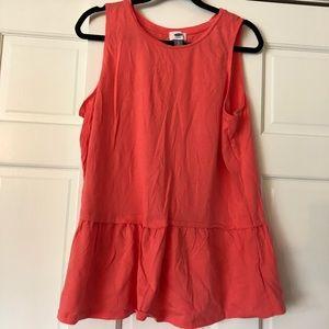 Old Navy Salmon orange ruffle long tank blouse